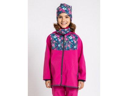 Unuo, Detská softshellová bunda s fleecom, Fuchsiová, Kvetinky