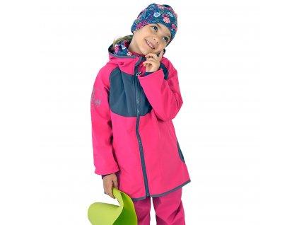 Unuo, Detská softshellová bunda s fleecom DUO, Fuchsiová