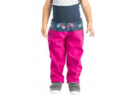 Unuo, Batoľacie softshellové nohavice s fleecom, Fuchsiová, Kvetinky