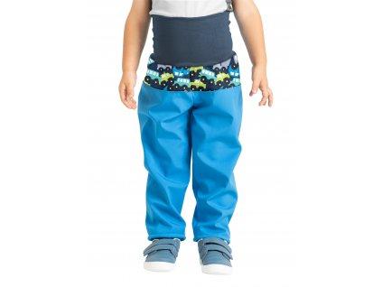 Unuo, Batoľacie softshellové nohavice s fleecom, Tyrkysová, Autíčka