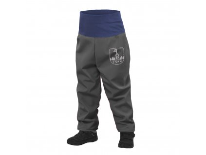 Unuo, Batoľacie softshellové nohavice s fleecom, Tm. Sivá