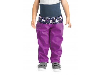 Unuo, Batoľacie softshellové nohavice s fleecom, Černicová, Jednorožce