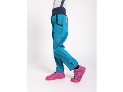 Unuo, Detské softshellové nohavice bez zateplenia, Modrozelená Aqua