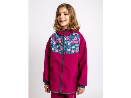 Unuo, Detská softshellová bunda bez zateplenia, Tm. Ružová Malinová, Kvetinky