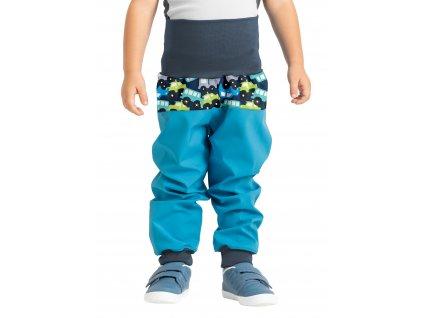 Unuo, Batoľacie softshellové nohavice bez zateplenia, Modrozelená Aqua, Autíčka
