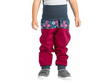 Unuo, Batoľacie softshellové nohavice bez zateplenia, Tm. Ružová Malinová, Kvetinky