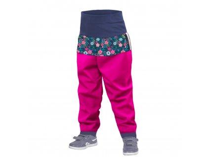 Unuo, Batoľacie softshellové nohavice bez zateplenia, Fuchsiová, Kvetinky