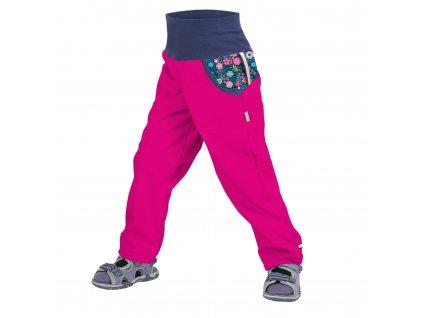 Unuo, Detské softshellové nohavice bez zateplenia, Fuchsiová, Kvetinky
