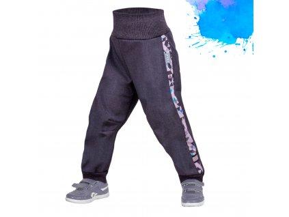 Unuo, Batoľacie softshellové nohavice s fleecom Street, Žíhaná Antracitová, Metricon chlapec