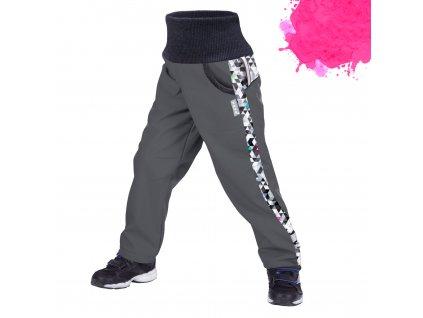 Unuo, Detské softshellové nohavice s fleecom, Tm. Sivá, Metricon dievča