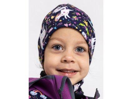 Unuo, Detský nákrčník z fleecu so suchým zipsom, Čierna, Jednorožce