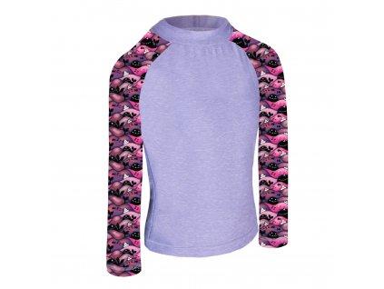 Unuo, Detské funkčné triko dl. rukáv so stojačikom UV 50+, Žíhaná Holubičie Sivá, Veľryby dievča