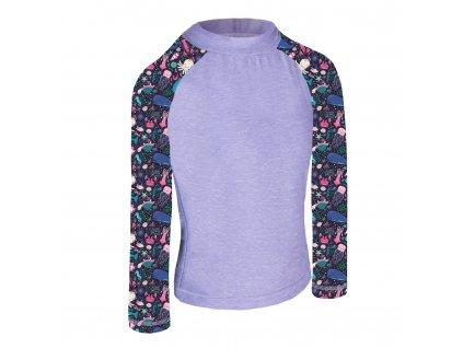 Unuo, Detské funkčné triko dl. rukáv so stojačikom UV 50+, Žíhaná Holubičie Sivá, Morský svet