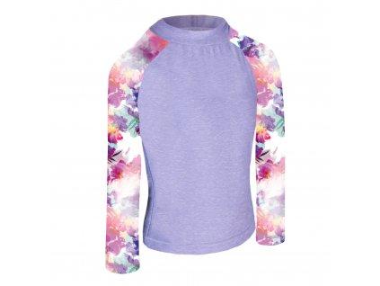 Unuo, Detské funkčné triko dl. rukáv so stojačikom UV 50+, Žíhaná Holubičie Sivá, Modernico