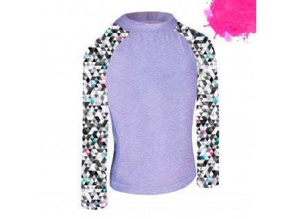 Unuo, Detské funkčné triko dl. rukáv so stojačikom UV 50+, Žíhaná Holubičie Sivá, Metricon dievča