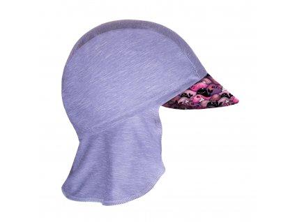 Unuo, Detská funkčná čiapka s šiltom a plachietkou UV 50+, Žíhaná Holubičie Sivá, Veľryby dievča