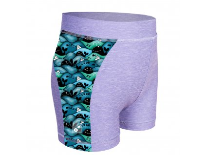 Unuo, Detské funkčné šortky UV 50+, Žíhaná Holubičie Sivá, Veľryby chlapec