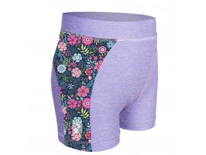 Unuo, Detské funkčné šortky UV 50+, Žíhaná Holubičie Sivá, Kvetinky