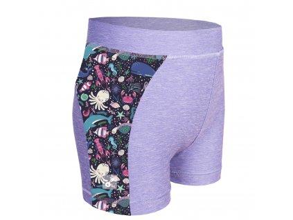 Unuo, Detské funkčné šortky UV 50+, Žíhaná Holubičie Sivá, Morský svet
