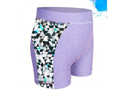 Unuo, Detské funkčné šortky UV 50+, Žíhaná Holubičie Sivá, Metricon chlapec