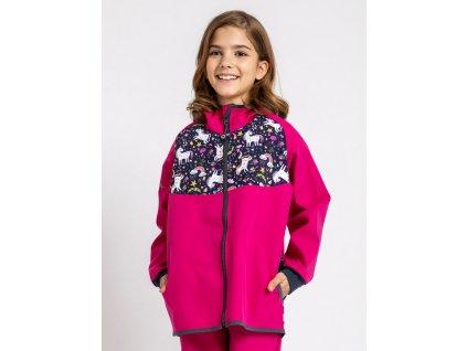 Unuo, Detská softshellová bunda bez zateplenia, Fuchsiová, Jednorožce