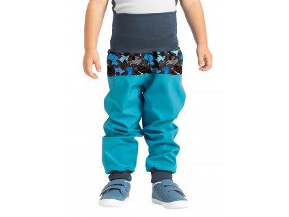 Unuo, Batoľacie softshellové nohavice bez zateplenia, Smaragdová, Psíkovia