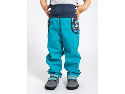 Unuo, Detské softshellové nohavice bez zateplenia, Smaragdová, Psíkovia