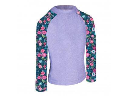 Unuo, Detské funkčné triko dl. rukáv so stojačikom UV 50+, Žíhaná Holubičie Sivá, Kvetinky