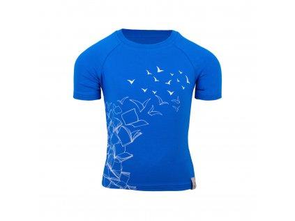 Unuo, Detské bambusové triko s krátkym rukávom, Modrá Královská,  Letiaci kniha