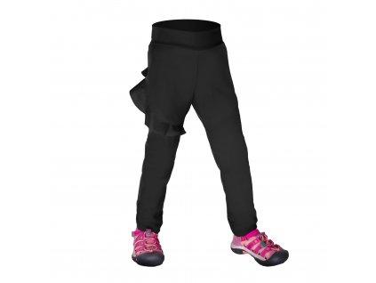 Batoľacie softshellové nohavice bez zateplenia pružné Fantasy, Čierna