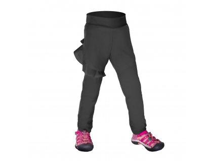 Batoľacie softshellové nohavice bez zateplenia pružné Fantasy, Tm. Sivá