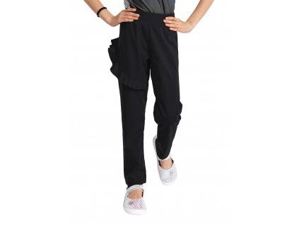 Detské softshellové nohavice bez zateplenia pružné Fantasy, Čierna