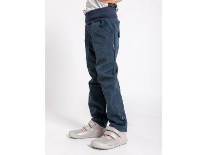 Unuo, Detské softshellové nohavice s fleecom Cool, Žíhaná Tm. Modrá