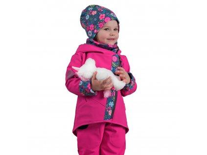 Unuo, Detská softshellová bunda s fleecom Cross, Fuchsiová, Kvetinky