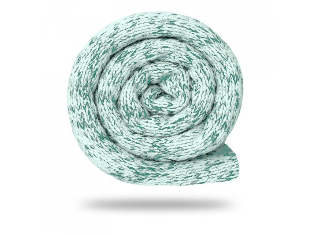 Svetrovina fleecová 280 g, Melír, Mentolová s bílou