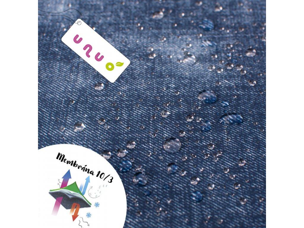 Softshell zimní s fleecem 10/3, jeans Modrá, rub Šedá