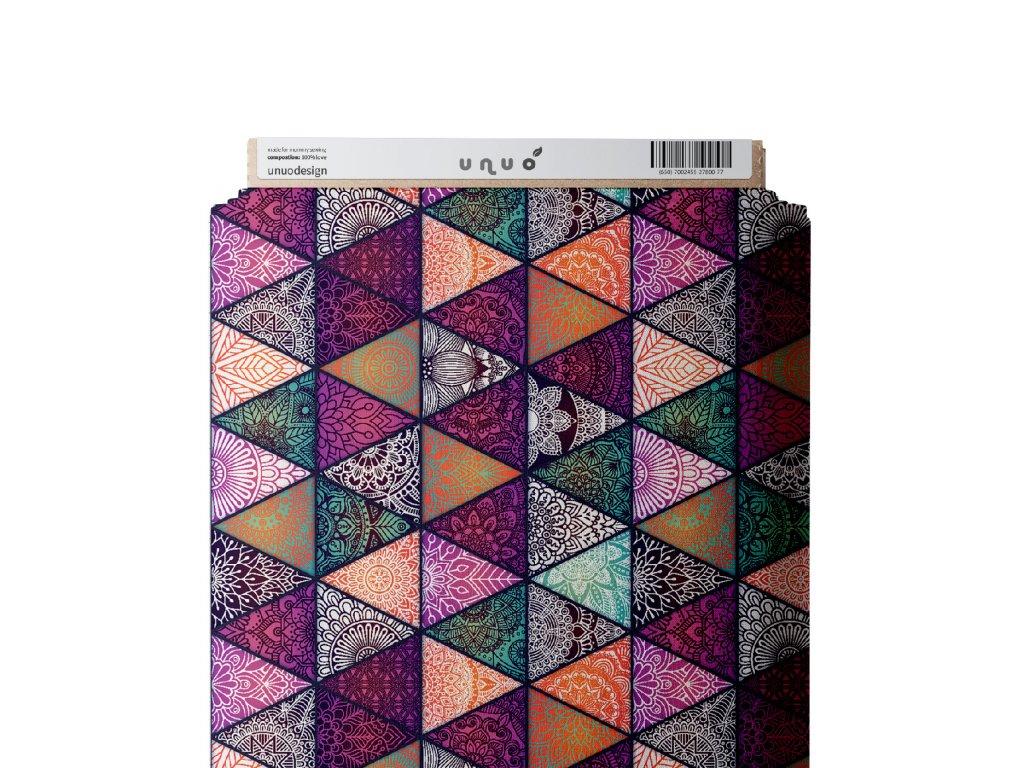 Unuo tisk, Microfresh úplet UPF 50 počesaný, Mandalové triangly, Ostružinová