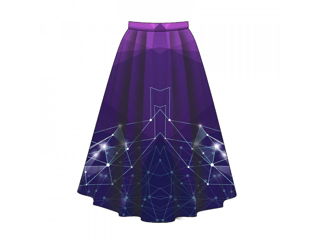 Unuo tisk panel sukně, Fleece antipilling 190 g, Geometrická obloha