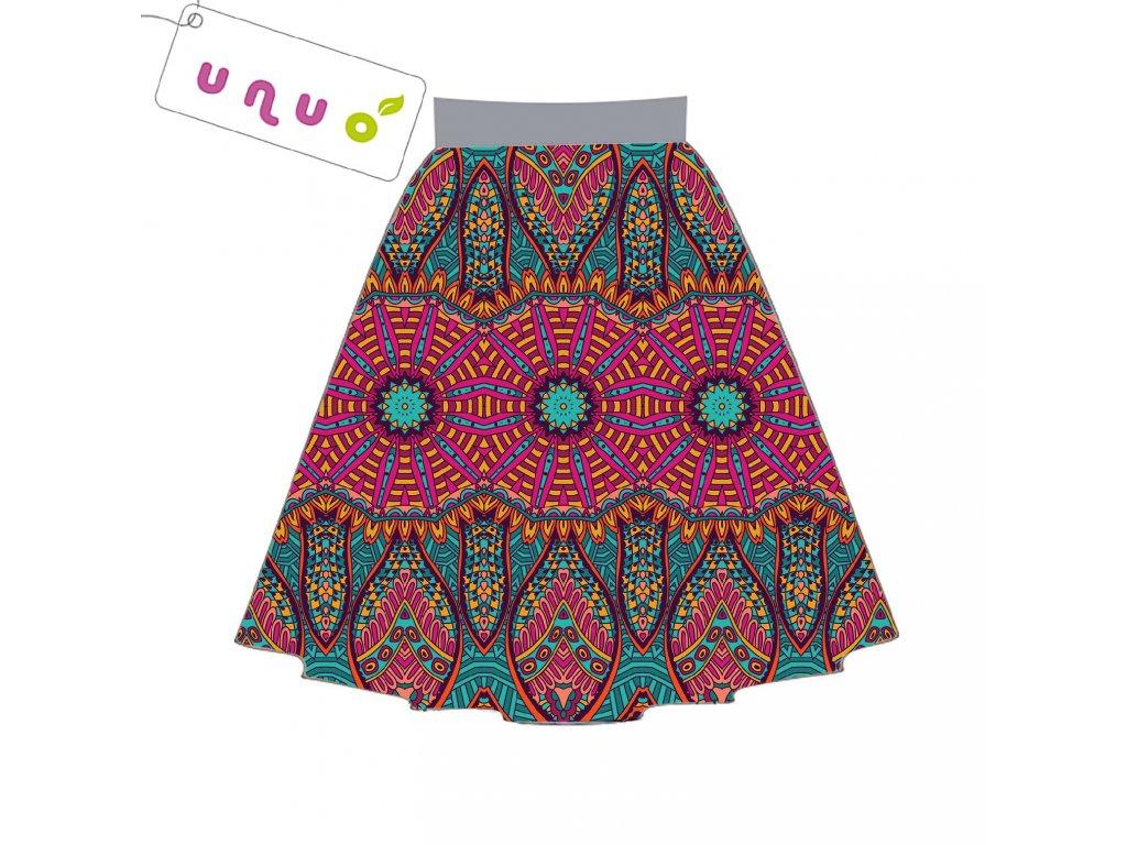 Unuo tisk panel sukně, Fleece antipilling 190 g, Ethno kružnice