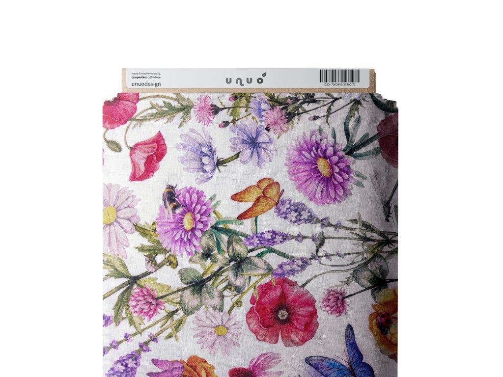 Úplet bavlněný, Zahradní květy s motýly, Bílá