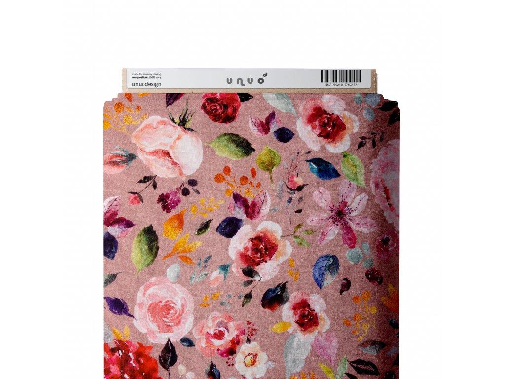 Úplet bavlněný, Akvarelové květy, Růžová Pudrová Tmavší