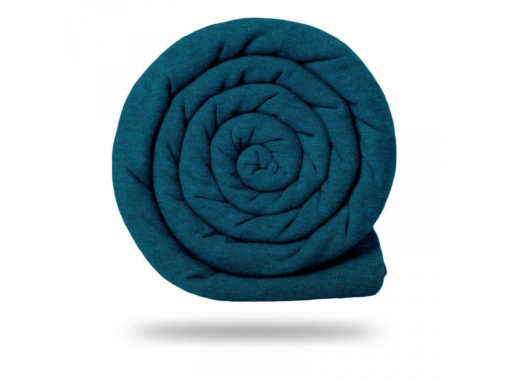 Teplákovina bavlněná nepočesaná 290 g, Tm. Modrá Jeans Melír