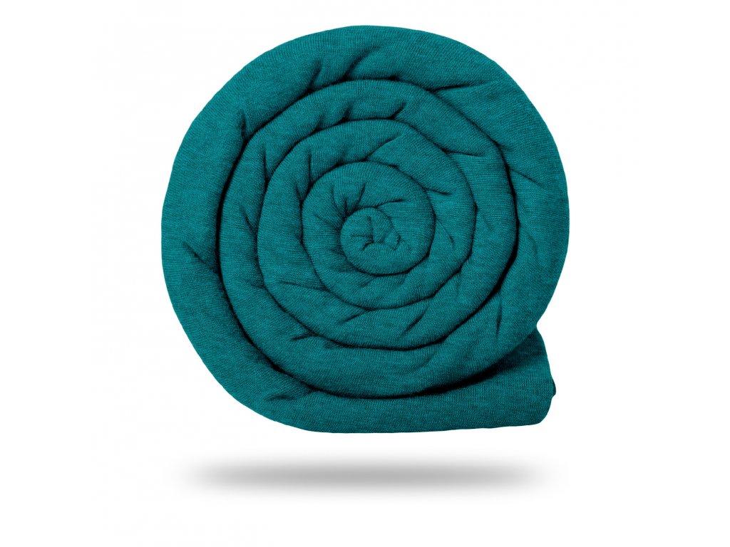 Úplet bavlněný 180 g, Smaragdová Studená Melír