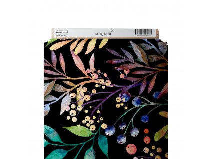 Unuo tisk, Microfresh úplet UPF 50 počesaný, Podzimní bobule, Černá