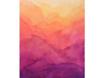 watercolor fialovozluty