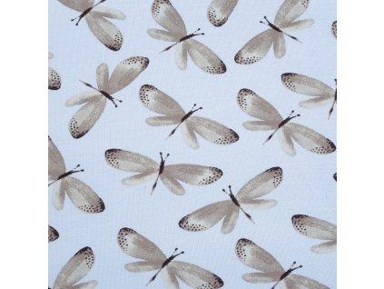 Teplákovina bavlněná nepočesaná, Motýli, Sv. Modrá