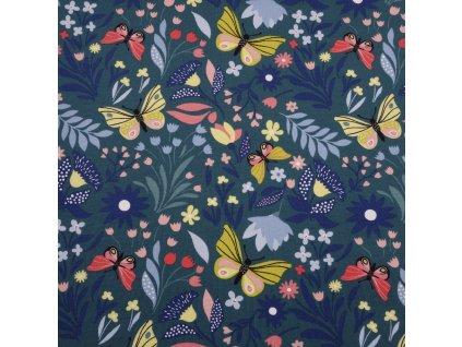 Úplet bavlněný, Motýlci mezi květy, Smaragdová