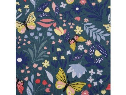 Teplákovina bavlněná nepočesaná, Motýlci mezi květy, Smaragdová