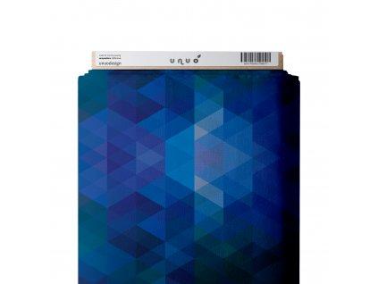 Unuo tisk, Fleece antipiling 190 g, Geometrické triangly s modrou, Modrá Královská