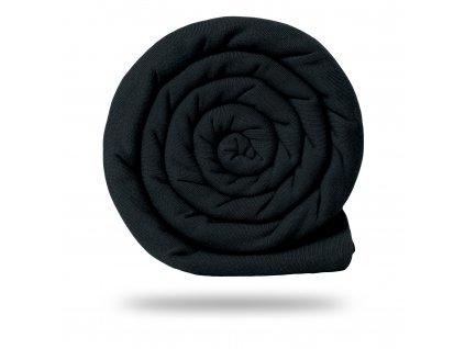 Pletenina bavlněná se lnem 170 g, Černá